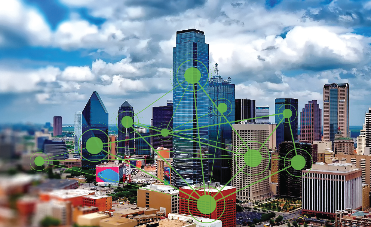 Dallas skyline with each building being shown as a node in a network
