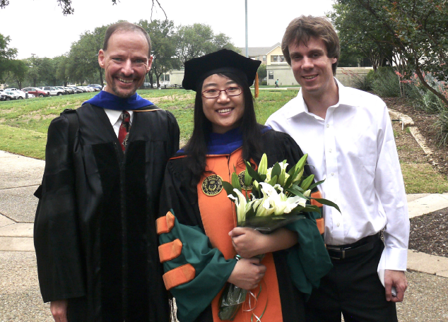 John Hansen with Yan Shi Hynek Boril at Graduation